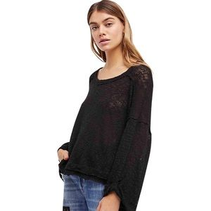 We The Free The Island Hacci Blouse Black Boatneck